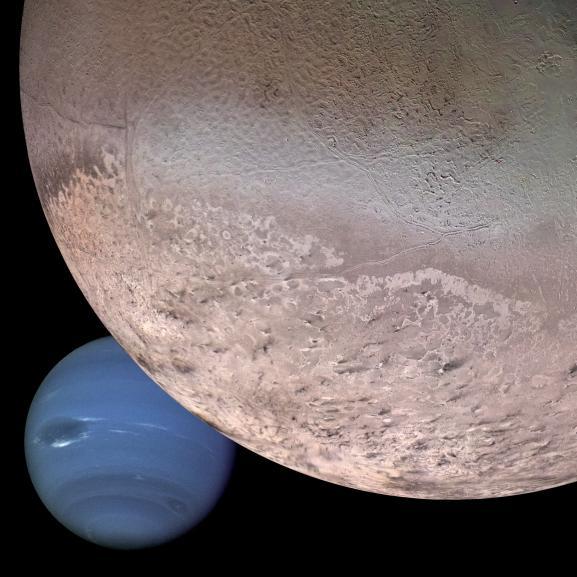 Triton über Neptun